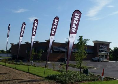 pac printers, outdoor signage, flags with logos, business advertising, custom flag printing